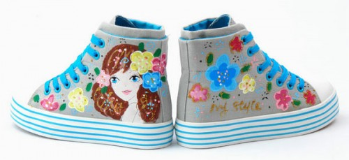 Colorful Flowers and Sweet Girl Grey Hand Painted Canvas Anime S-1