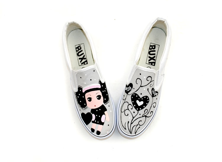 Ddung Barbie Doll Hand Painted Slip-on Canvas Shoes-2