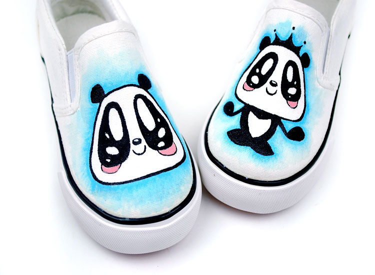 Prince Panda Cartoon Hand Painted Slip on Canvas Shoes-1