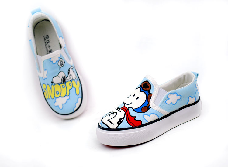 Anime Snoopy Cartoon hand Painted Slip on Canvas Shoes-1