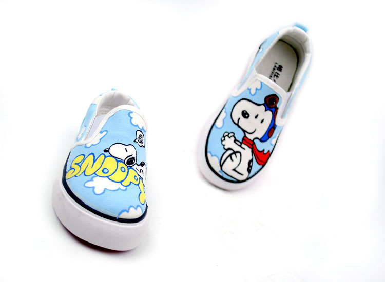 Anime Snoopy Cartoon hand Painted Slip on Canvas Shoes-2