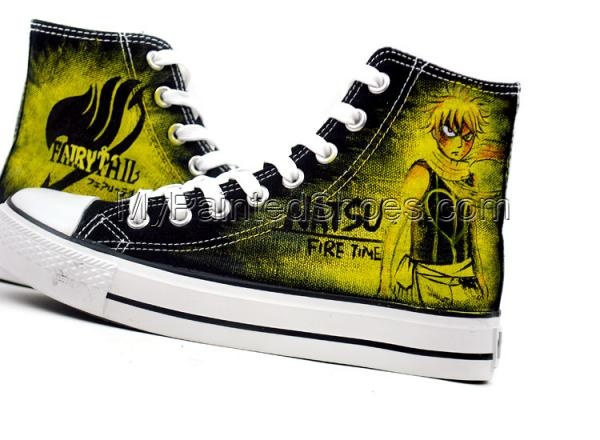 Fairy Tail Hand Painted Canvas Shoes Natsu Dragneel Shoes-2