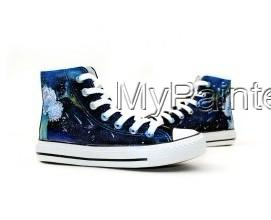 Meteor Shower Themed High-top Hand Painted Canvas Shoes-1