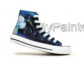 Meteor Shower Themed High-top Hand Painted Canvas Shoes-2
