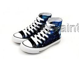 Meteor Shower Themed High-top Hand Painted Canvas Shoes-3