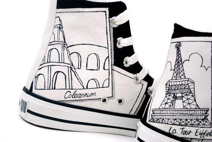 Painted Canvas Shoes Places of Interest Worldwide Style High-top-1