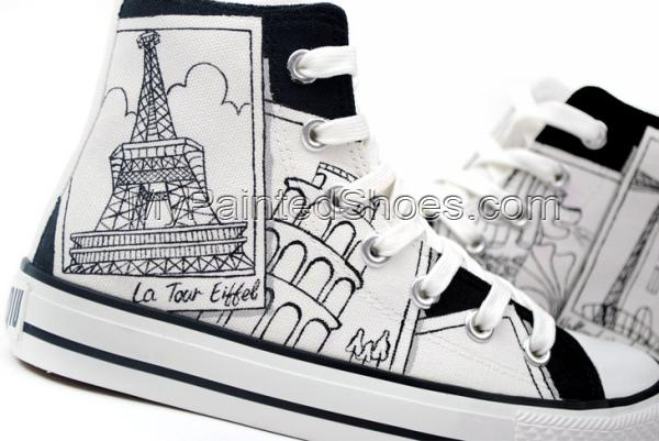 Painted Canvas Shoes Places of Interest Worldwide Style High-top-2