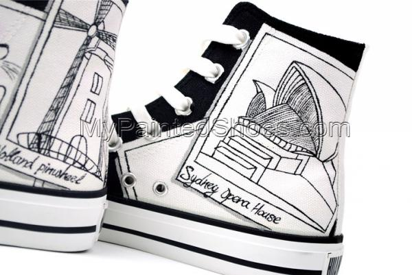 Painted Canvas Shoes Places of Interest Worldwide Style High-top-3