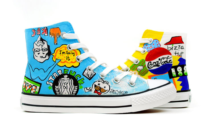 Street Fashion Hand Painted High Top Canvas Shoes-1