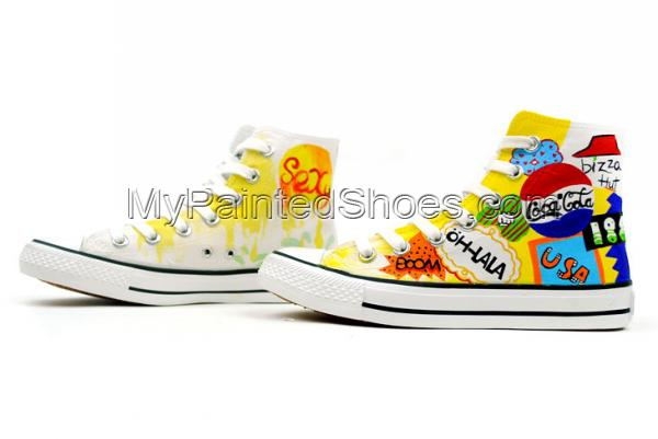 Street Fashion Hand Painted High Top Canvas Shoes-2