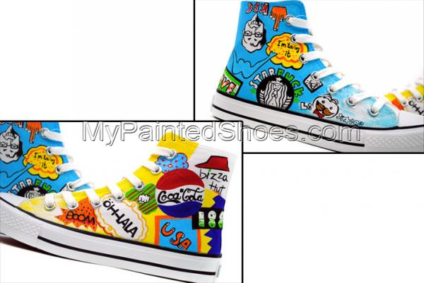 Street Fashion Hand Painted High Top Canvas Shoes-3