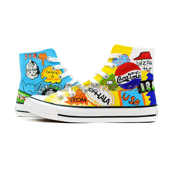 Street Fashion Hand Painted High Top Canvas Shoes