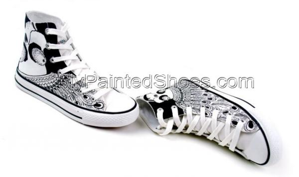 Punk Fashion Skull Painted Canvas Shoes High Top Canvas Shoes-2