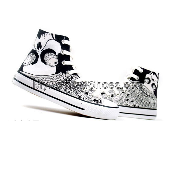 Punk Fashion Skull Painted Canvas Shoes High Top Canvas Shoes