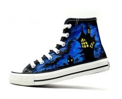 Halloween Hand Painted High-top Canvas Shoes-1