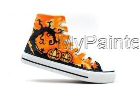 Halloween Hand Painted High-top Canvas Shoes-3