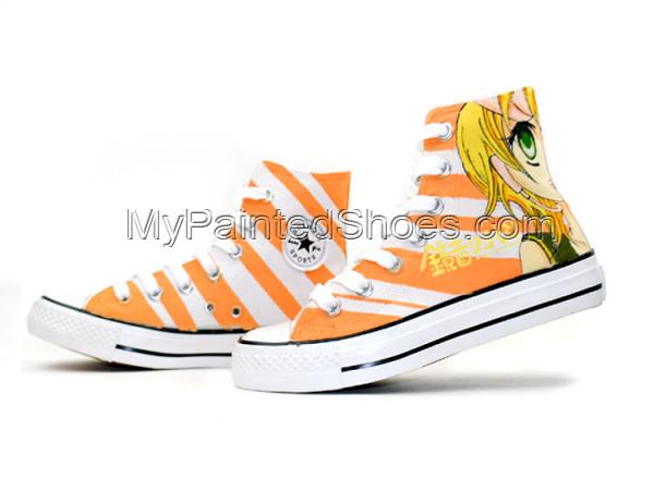 Anime Kagamine Rin/Len Hand Painted High Top Canvas Shoes-2