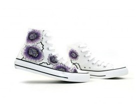 Colors of Ink Themed High-top Hand Painted Canvas Shoes-1