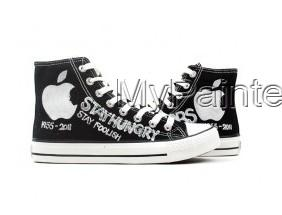 In Memory of Steve Jobs Series Hand Painted High Top Canvas Snea-3