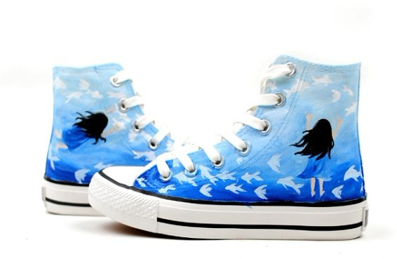 Dream Hand Painted High-top Canvas Shoes-1