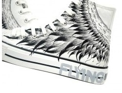 Hand Painted Flying Wings High Top Canvas Shoes-1
