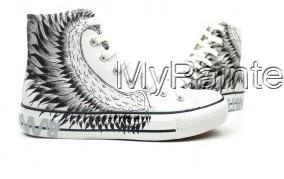 Hand Painted Flying Wings High Top Canvas Shoes-3