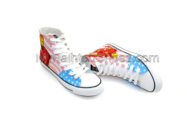 Iron Man Custom Hand Painted High Top Canvas Shoes-2