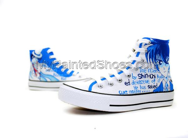 Detective Conan Anime Hand Painted High Top Canvas Shoes-3