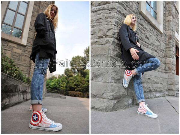 Captain America Hand Painted Canvas Shoes The First Avenger Canv-3