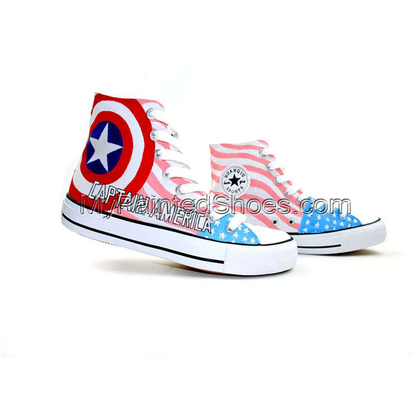 Captain America Hand Painted Canvas Shoes The First Avenger Canv