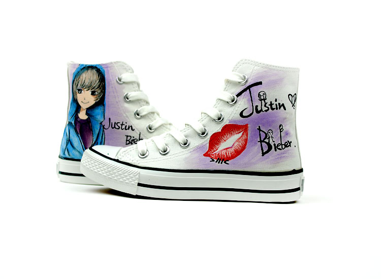 Cartoon Justin Bieber Hand Painted High Top Canvas Shoes-1