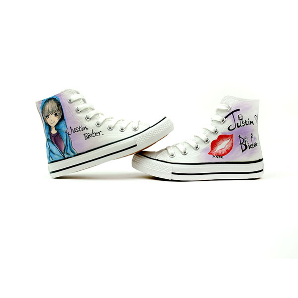Cartoon Justin Bieber Hand Painted High Top Canvas Shoes