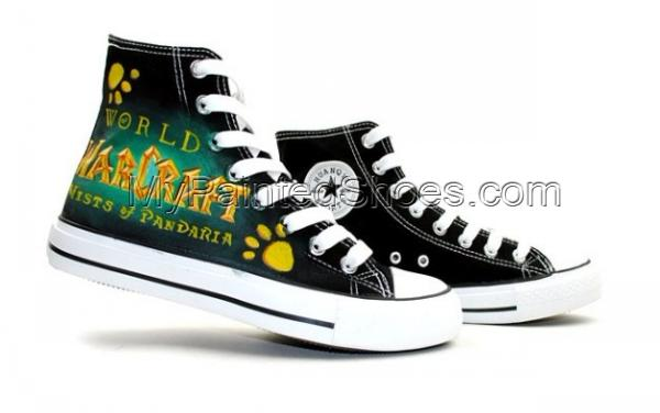 World of Warcraft Mists of Pandaria High Top Painted Canvas Shoe-3