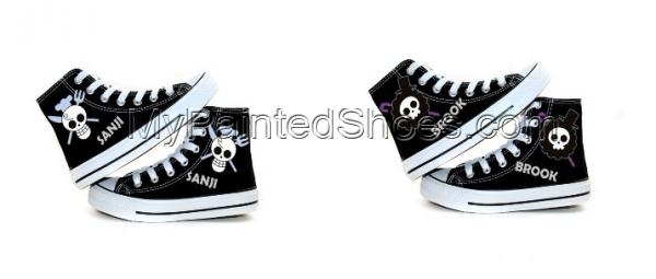 One Piece Skeleton Flags Hand Painted Canvas Shoes-2