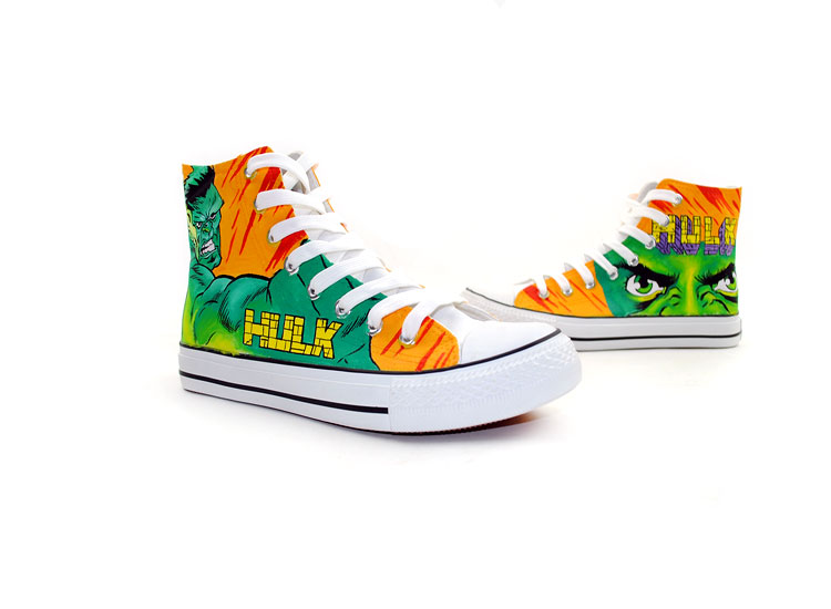 The Hulk Custom Hand Painted High Top Canvas Sneakers-1