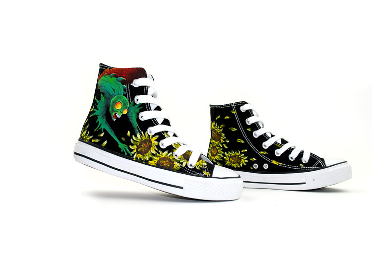 Anime Shoes Skulls Devil Cartoon Hand Painted High Top Canvas Sh-1