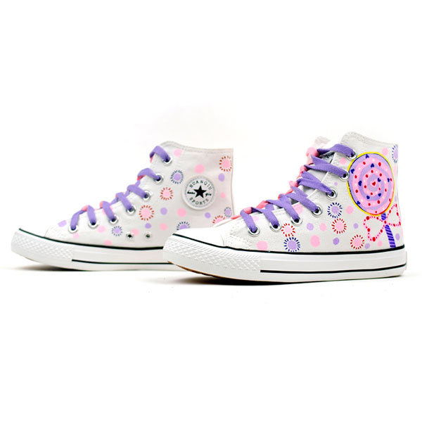 Lollipops Doodle Hand Painted High Top Canvas Sneaker Shoes