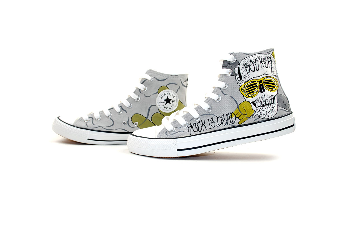 Punk Rock Style Design Hand Painted Custom Sneakers-1