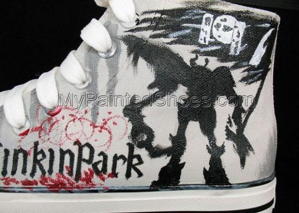 Linkin Park Hand Painted High-top Canvas Shoes-2