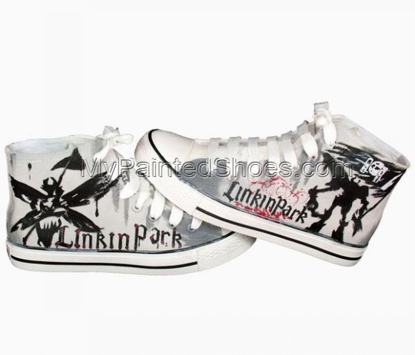 Linkin Park Hand Painted High-top Canvas Shoes-3