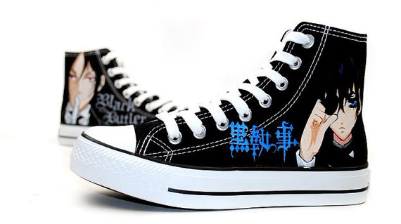 Black Butler Hand Painted Canvas Shoes Anime Shoes-2