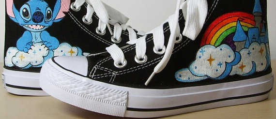 Hand Painted Shoes XT02 Lilo and Stitch Hand-painted Canvas Shoe-1