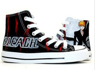 Bleach Ichigo Kurosaki Anime Shoes Painted Canvas Shoes-1
