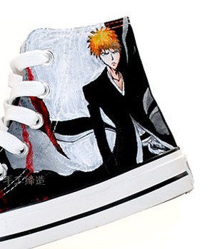 Bleach Ichigo Kurosaki Anime Shoes Painted Canvas Shoes-2