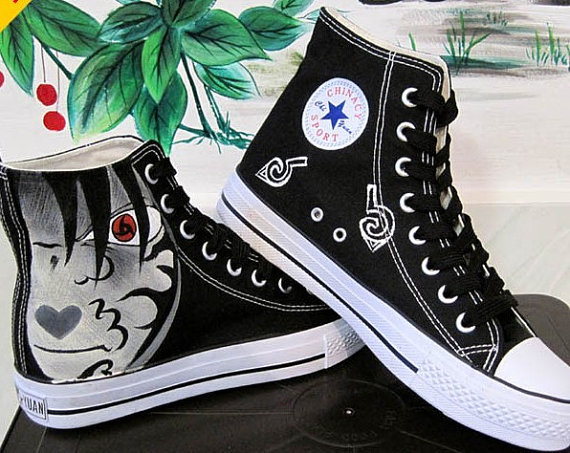 Hand Painting Naruto Hand painted canvas shoes flat shoes studen-1