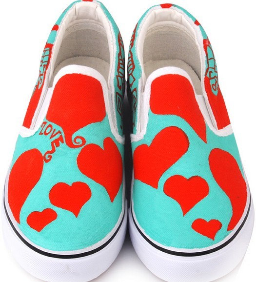 Hand Painting Shoes Red Heart Hand Painted Canvas Shoes-1