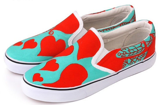 Hand Painting Shoes Red Heart Hand Painted Canvas Shoes-3