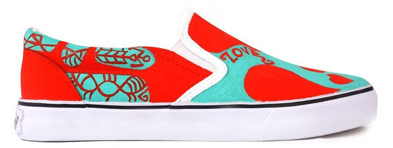 Hand Painting Shoes Red Heart Hand Painted Canvas Shoes-4