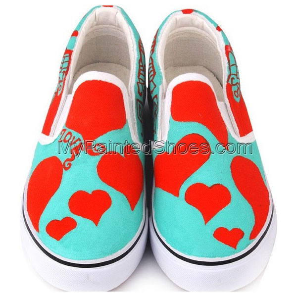 Hand Painting Shoes Red Heart Hand Painted Canvas Shoes