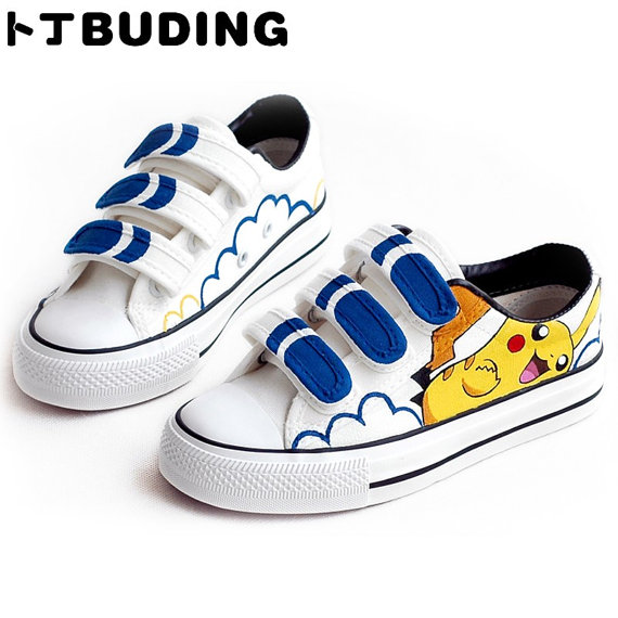 Hand Painting Pikachu Shoes Pikachu Hand Painted Canvas Shoes-1